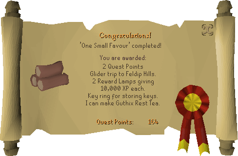 One Small Favour reward scroll
