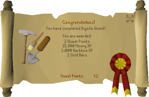 The Digsite reward scroll