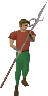 Zamorakian spear equipped