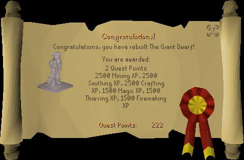 The Giant Dwarf reward scroll