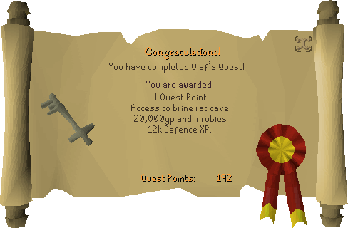Olaf's Quest reward scroll