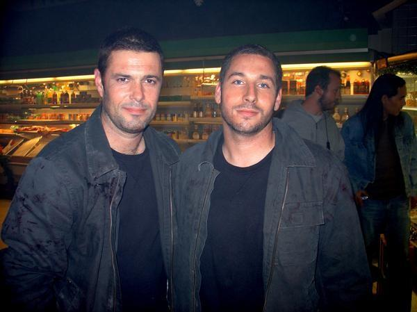 "File:Carlos Bernard and his stuntman, Scott Rosen on the set of ""Alien Raiders."".jpg"