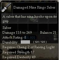 Damaged Nine Rings Saber