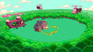 S6e26 Helicopters and Banana Guards surrounding Tree Trunks' house