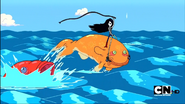 S1e12 Marceline riding goldfish monsters