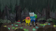 S4 E23 Jake getting sprayed by a Frog goo