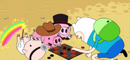 S2e13 finn playing checkers with baby pigs