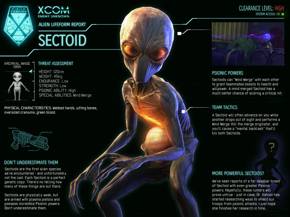 Xcom Enemy Unknown Alien Types Sectoid | Alien...