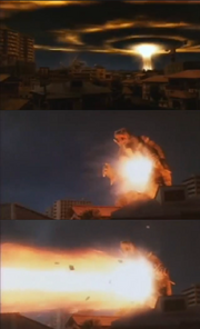 Gamera unleashes his Mana Blast.