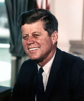 John F. Kennedy, White House color photo portrait-1-