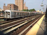 Queens-bound R42 J train at Marcy Av