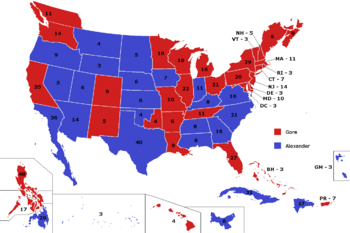 United States - election map, 1996 (Alternity)