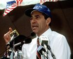 Mario Cuomo speaking at a rally, June 20, 1991