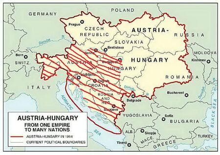 World war i 1914-1918 austria-hungary map