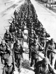 Polish infantry marching -2 1939