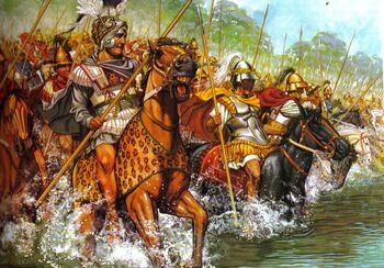 An illustration of Alexander III crossing the Granicus River