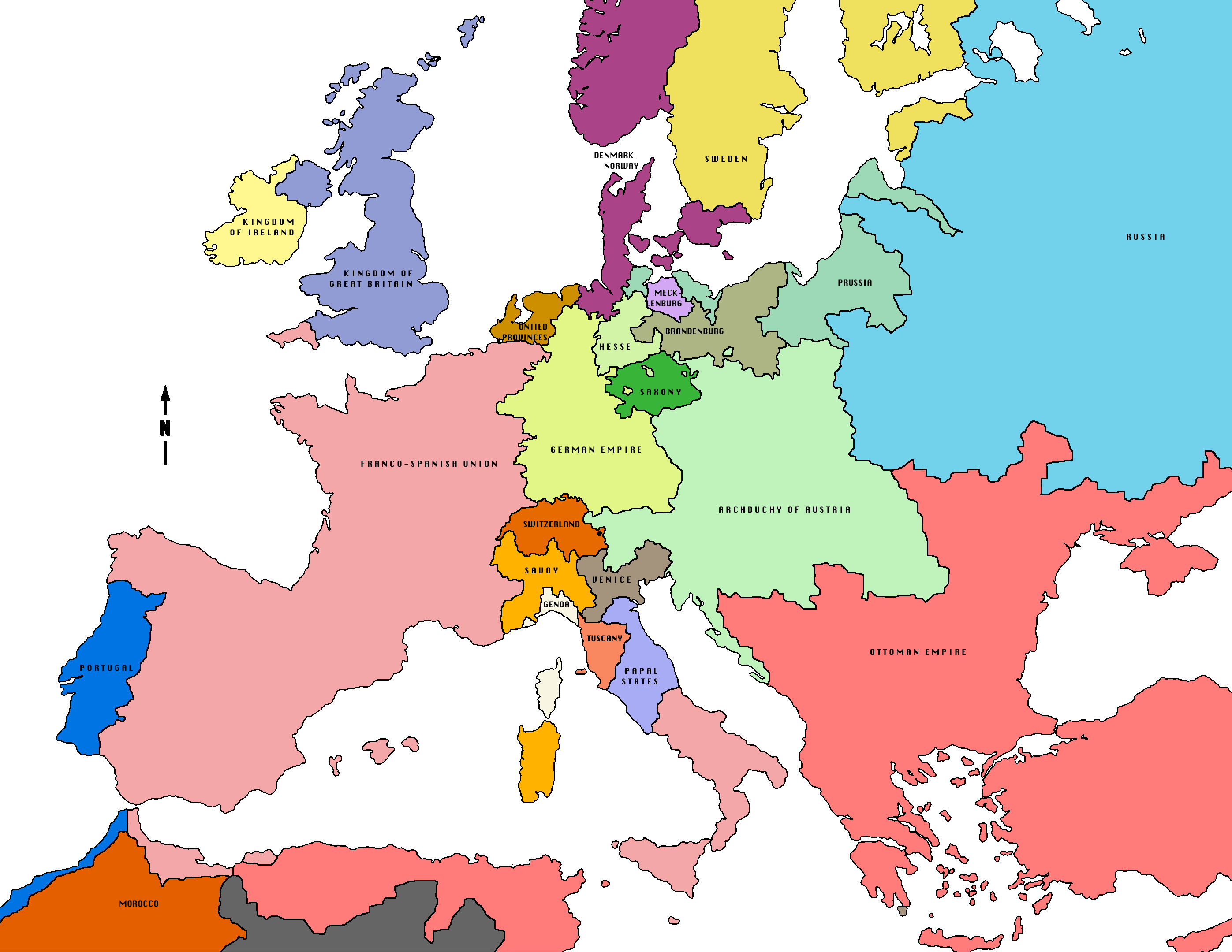 Political Map Of Europe 1800.Map Of Europe 1800