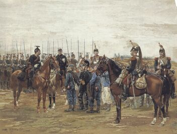 Detaille - A French Cavalry Officer Guarding Captured Bavarian Soldiers