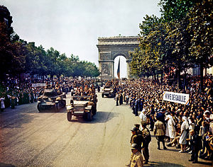 File:Crowds of French patriots line the Champs Elysees.jpg