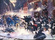 300px-Canadian militiamen and British soldiers repulse the American assault at Sault-au-Matelot