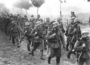 German infantry marches into Czechoslovakia (FG)