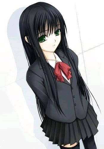 Картинки по запросу anime girl with black hair and green eyes