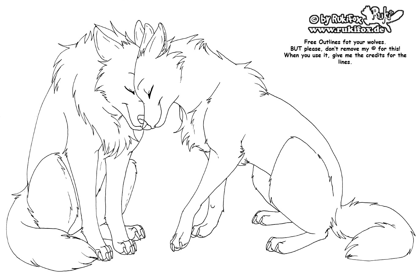 File:wolves Free Outline By Rukifoxg How To Draw A Cartoon Snow Leopard  From Animal