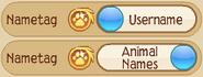 Options-Nametag Username Animal-Names