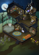 Old spooky party panorama