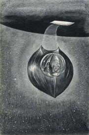 Animorphs in escape pod from pool ship The Predator japanese illustration