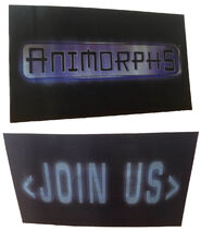 Both views Animorphs Join Us hologram card from calendar blank bkg