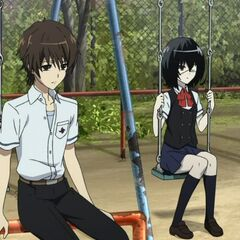 Mei and Kouichi at a playground.