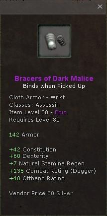 Bracers of dark malice