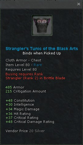 Stranglers tunic of the black arts