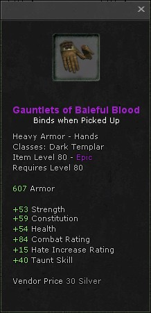 Gauntlets of baleful blood