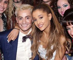 Ariana visting frankie at his broadway show