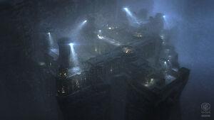 Batman Arkham Origins Concept Art Blackgate Exterior Mood