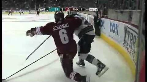 Scott Nichol Hit On David Schlemko(January,17,2011)