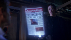 Eobard shows Eddie a future newspaper