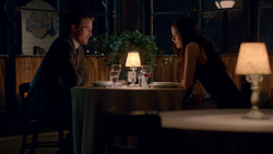 Oliver and Helena at a restaurant