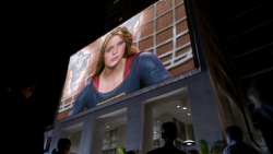 Supergirl giving her speech to the people of National City