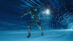 Savitar tossing Barry out of a breach he's using