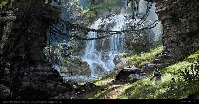 File:AC4BF Swan Island Waterfall - Concept Art.jpg