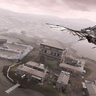 Ezio using the Flying Machine over Forlì