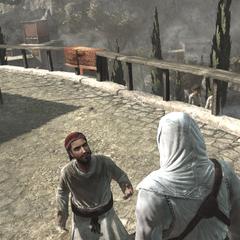 Altaïr ondervraagt Masun.