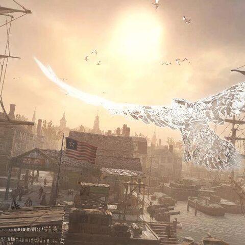 Ratohnhaké:ton als Adler über Boston