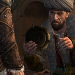 Piri Reis showing a Trip-wire bomb to Ezio