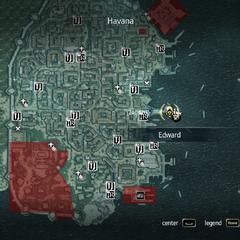 In-game map of Havana