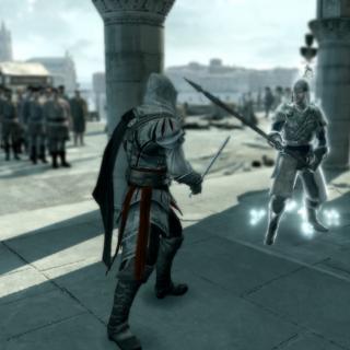 埃齐奥与一名侦察兵对抗