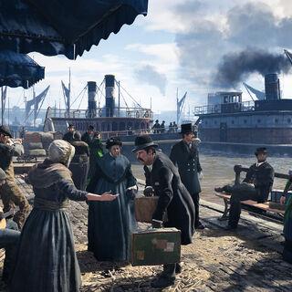 人们聚集在泰晤士河岸边
